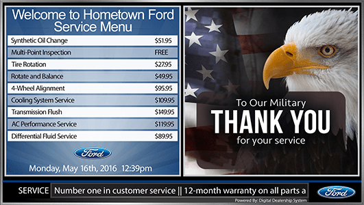ford digital service menu board