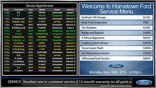 ford service appointment menu sign